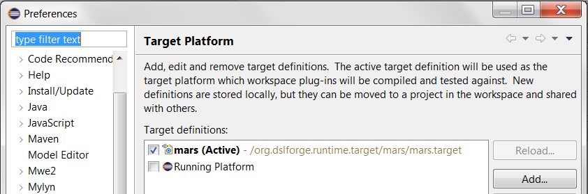 Eclipse Preferences - Switching between targets