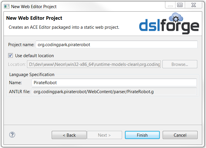 Enter the project and the grammar names