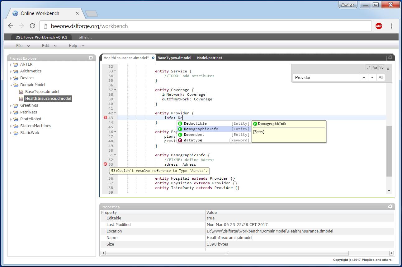 Web Editor – DSL Forge